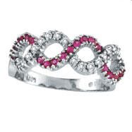 14K White Gold Pink Sapphire and Diamond Swirl Ring