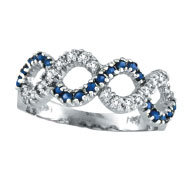 14K White Gold Sapphire and Diamond Swirl Ring