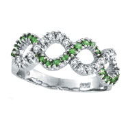 14K White Gold Tsavorite and Diamond Swirl Ring