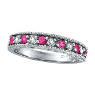 14K White Gold Diamond and Pink Sapphire Band Ring