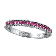 14K White Gold Pink Sapphire Stackable Band Ring