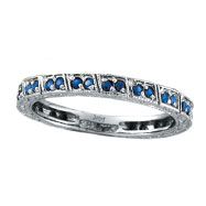 14K White Gold Sapphire Stackable Eternity Ring