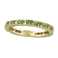 14K Yellow Gold Tsavorite Stackable Eternity Band