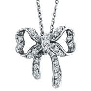 14K White Gold .26ct Diamond Bow Pendant On Link Chain Necklace