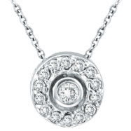 14K White Gold .25ct Diamond Circular Pendant Necklace