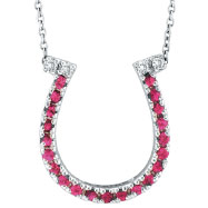 14K White Gold .21ct Pink Sapphire & .04ct Diamond Horseshoe Pendant Necklace