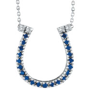 14K White Gold .19ct Sapphire Horseshoe & .04ct Diamond Pendant Necklace