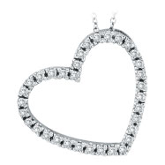 14K White Gold .40ct Diamond Slanted Heart Pendant Necklace