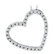 14K White Gold .40ct Diamond Slanted Heart Pendant Necklace