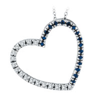 14K White Gold .20ct Diamond & .20ct Sapphire Slanted Heart Pendant Necklace