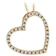 14K Yellow Gold .40ct Diamond Slanted Heart Pendant Necklace