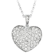 14K White Gold 1.30ct Diamond Puffed Heart Pendant Necklace