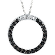 14K White Gold .25ct Black Diamond Circle Pendant On Cable Chain Necklace