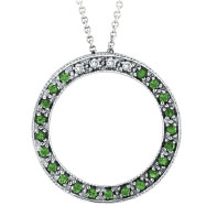 14K White Gold .04ct Diamond & .21ct Tsavorite Circle Pendant On Cable Chain Necklace