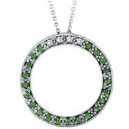 14K White Gold .04ct Diamond & .21ct Tsavorite Circle Pendant On Cable Chain Necklace