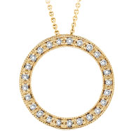 14K Gold .25ct Diamond Circle Necklace Pendant On Cable Chain Necklace