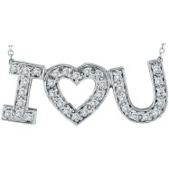 "14K White Gold .30ct Diamond ""I Love You"" Pendant Necklace"