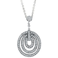 14K White Gold .88ct Diamond Graduated Circle Pendant On Cable Chain Necklace