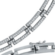 14K White Gold Open Long Link Diamond Stampato Necklace