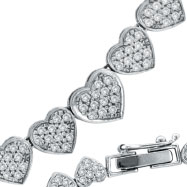 14 K White Gold Diamond Heart Eternity Necklace