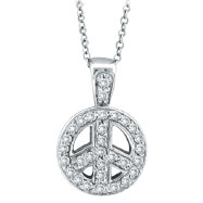 14K White Gold .26ct Diamond Peace Sign Pendant On Cable Chain Necklace
