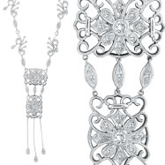 14K White Gold Diamond Fancy Filigree Necklace