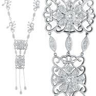 14K White Gold Diamond Fancy Filigree Necklace