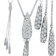 14K White Gold Diamond Centerpiece & Drops Cable Chain Necklace