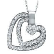 14K White Gold .59ct Diamond Triple Slanted Heart Heart Pendant On Cable Chain Necklace