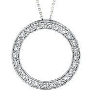 14K White Gold .53ct Diamond Eternity Circle Pendant On Cable Chain Necklace