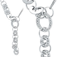 14K White Gold Diamond & Polished Circle Fancy Necklace