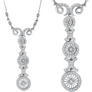 14K White Gold Antique Style .86ct Diamond Pendant Necklace