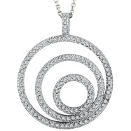 14K White Gold Designer 1.0ct Diamond 3-Circle Pendant On Cable Chain Necklace