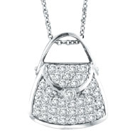 14K White Gold .75ct Diamond Purse Pendant On Cable Chain Necklace