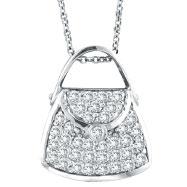 14K White Gold .75ct Diamond Purse Pendant On Cable Chain Necklace