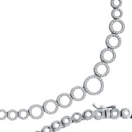 14K White Gold Diamond Circle Link Necklace