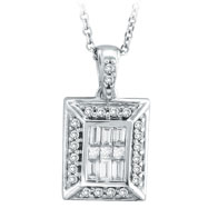 14K White Gold Baguette, Round & Princess Cut .45ct Diamond Rectangle Pendant On Cable Chain Necklac