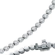 14K White Gold Diamond Bezel Set Necklace