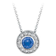 14K White Gold .52ct Tanzanite & .17ct Diamond Circular Pendant On Cable Chain Designer Necklace