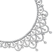 14K White Gold Diamond Wide Lacy Necklace