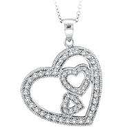 14K White Gold .58ct Diamond Slanted Hearts Pendant On Cable Chain Designer Necklace