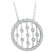 14K White Gold .50ct Diamond Circle With Vertical Bars Pendant On Cable Chain Necklace
