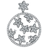 14K White Gold 1.65ct Diamond Floral Circular Pendant Slide