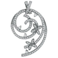14K White Gold Designer 1.5ct Diamond Twirled Floral Accented Pendant Slide