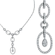 14K White Gold Open Circle Diamond Link Dropping Necklace