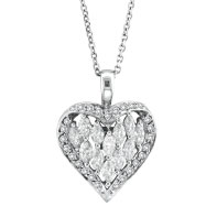 14K White Gold 2.01ct Marquise Diamond Twisted Heart Pendant On Cable Chain Necklace