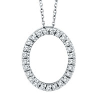 14K White Gold .25ct Diamond Oval Pendant On Cable Chain Necklace