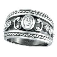 18K White Gold .56ct Diamond Antique Style Ring