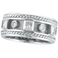 14K White Gold Antique Style .52ct Diamond Ring Band