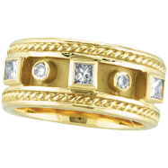 18K Yellow Gold Antique Style .52ct Diamond Ring Band